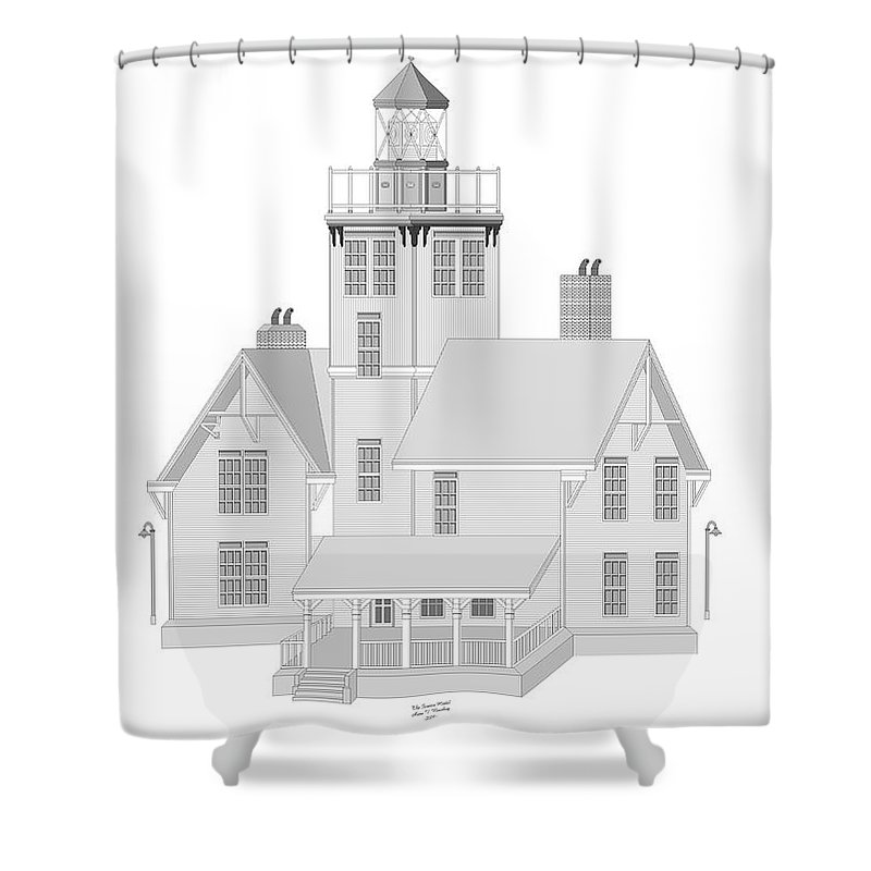Lighthouse Shower Curtain featuring the painting Fermin Model Architectural Drawing by Anne Norskog