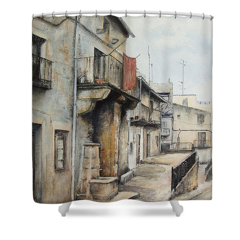 Fermoselle Zamora Spain Oil Painting City Scapes Urban Art Shower Curtain featuring the painting Fermoselle by Tomas Castano
