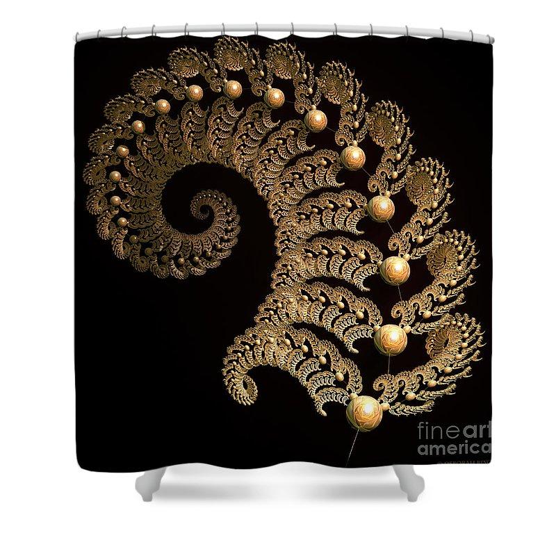 Incendia Shower Curtain featuring the digital art Fern-spiral-fern by Deborah Benoit