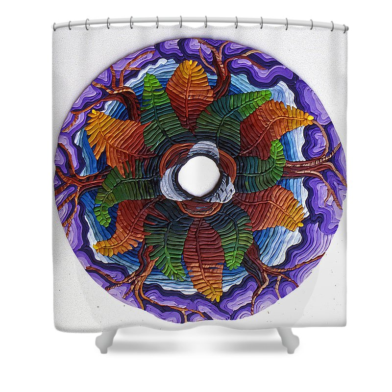 Mandala Shower Curtain featuring the relief Ferns And Purple Trees by Arla Patch