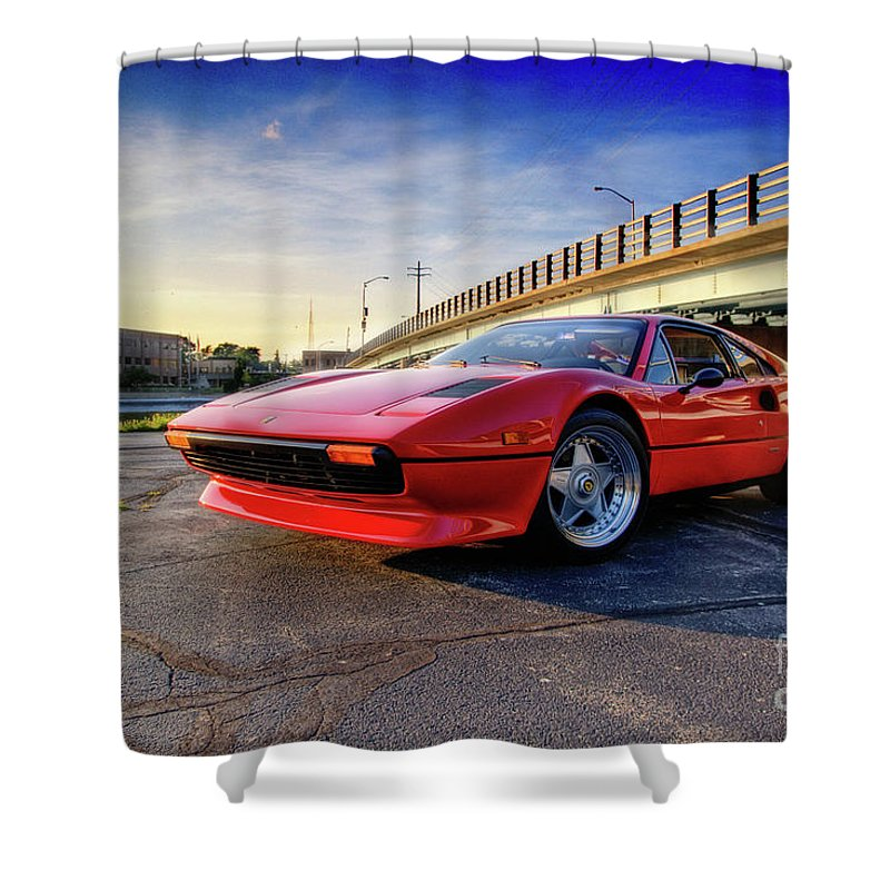 Ferrari Shower Curtain featuring the photograph Ferrari 308 by Joel Witmeyer