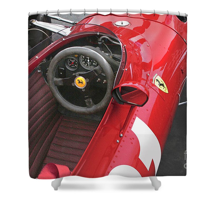 Ferrari Shower Curtain featuring the photograph Ferrari 312 F-1 1967 by Curt Johnson