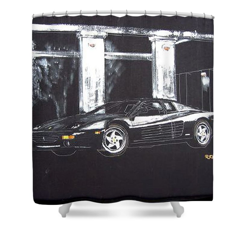348 Gtr Testarrossa Shower Curtain featuring the painting Ferrari 348 Gtr Testarrossa by Richard Le Page