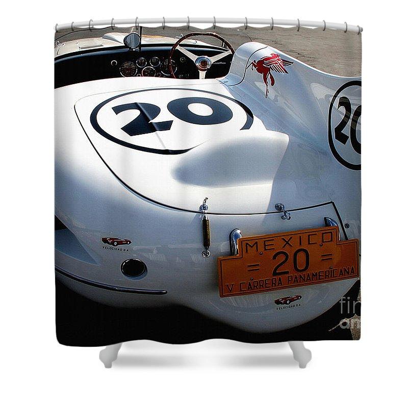 Ferrari Shower Curtain featuring the photograph Ferrari 375 Mm by Curt Johnson