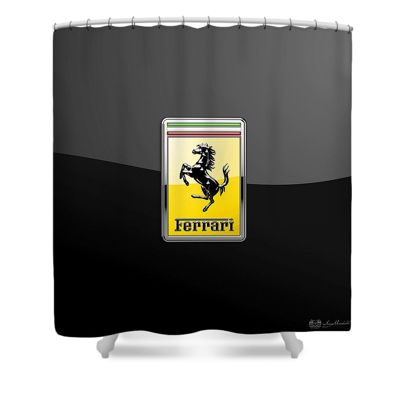 �auto Badges� Collection By Serge Averbukh Shower Curtain featuring the photograph Ferrari 3D Badge- Hood Ornament on Black by Serge Averbukh