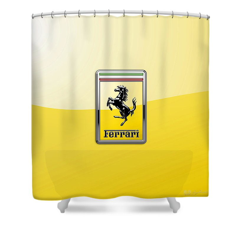 �auto Badges� Collection By Serge Averbukh Shower Curtain featuring the photograph Ferrari 3D Badge- Hood Ornament on Yellow by Serge Averbukh