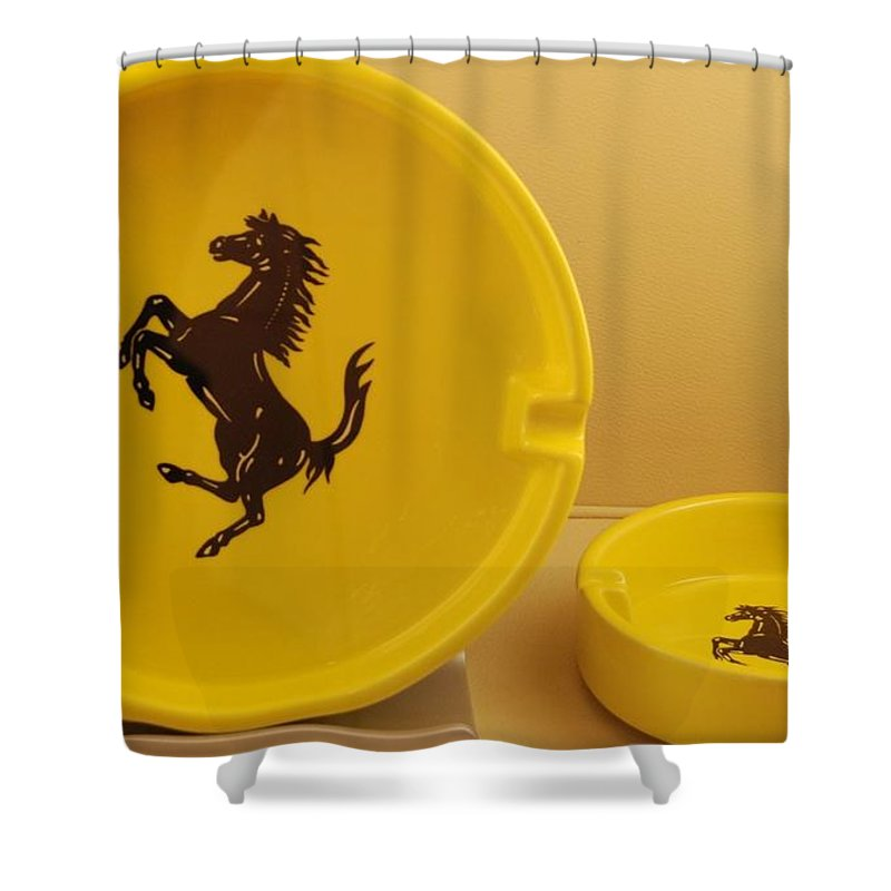 Stallion Shower Curtain featuring the photograph Ferrari Ash Catchers by Rob Hans