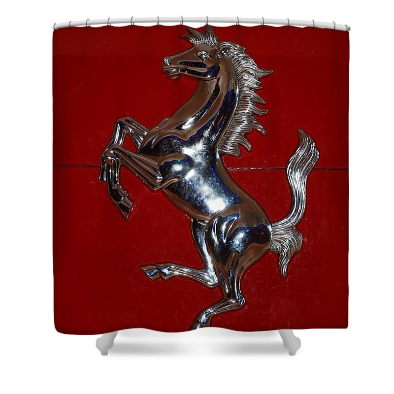 Pop Art Shower Curtain featuring the photograph Ferrari Stallion by Rob Hans