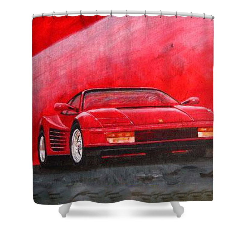 Ferrari Shower Curtain featuring the painting Ferrari Testarrossa by Richard Le Page