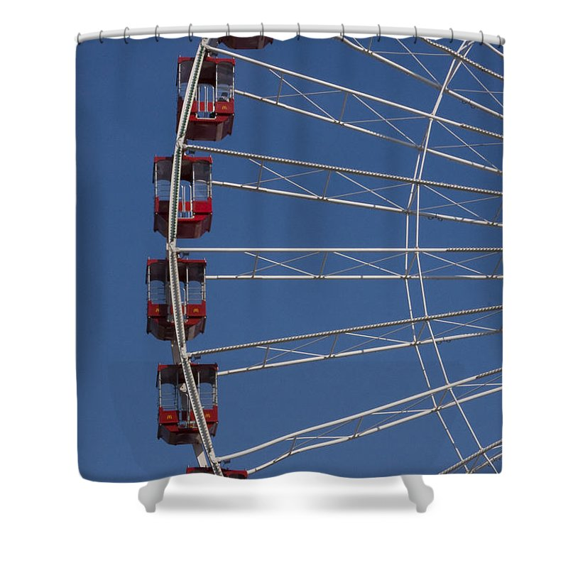 Chicago Windy City Ferris Wheel Tourist Tourism Travel Attraction Shower Curtain featuring the photograph Ferris Wheel by Andrei Shliakhau