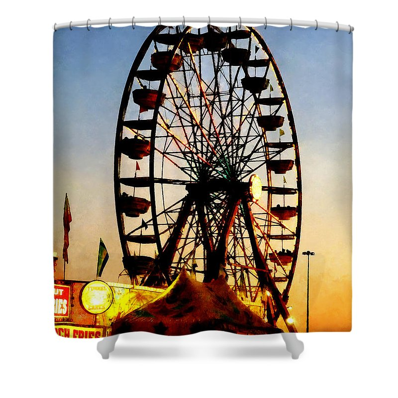 Carnival Shower Curtain featuring the photograph Ferris Wheel At Night by Susan Savad