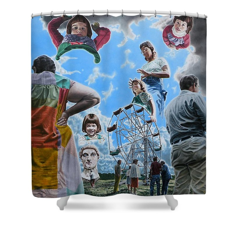 Woman Shower Curtain featuring the painting Ferris Wheel by Dave Martsolf