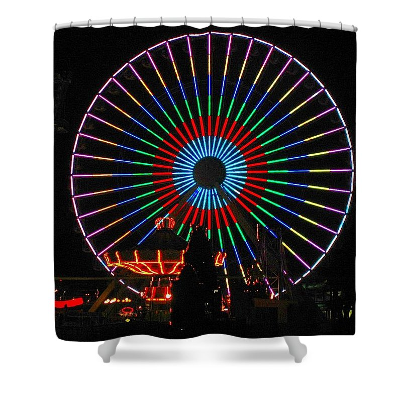Ferris Wheel Shower Curtain featuring the photograph Ferris Wheel In Wildwood New Jersey by Denise Keegan Frawley