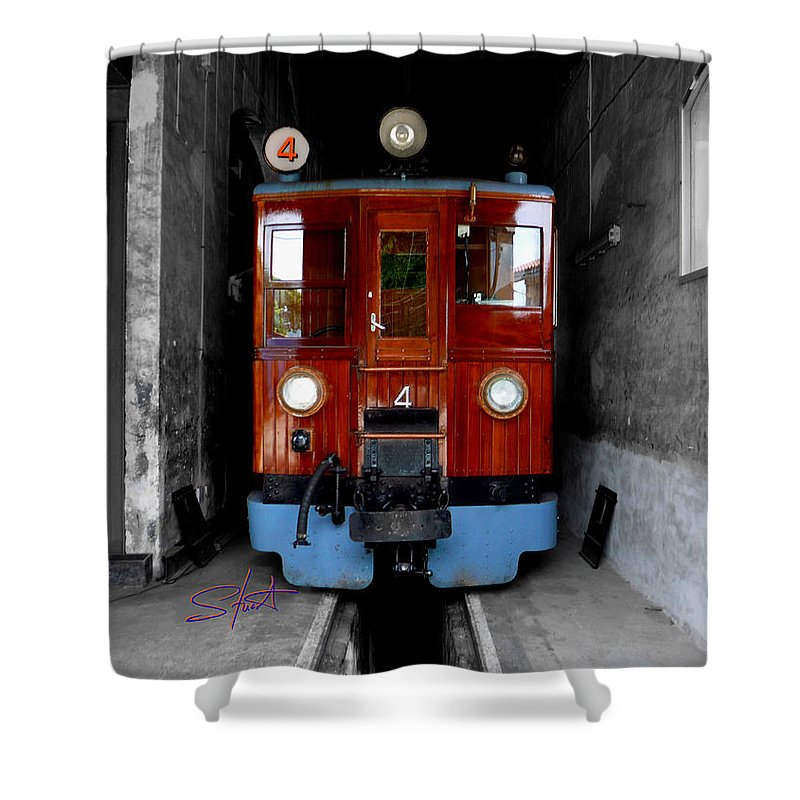 Train Shower Curtain featuring the photograph Ferrocarrril De Soller by Charles Stuart
