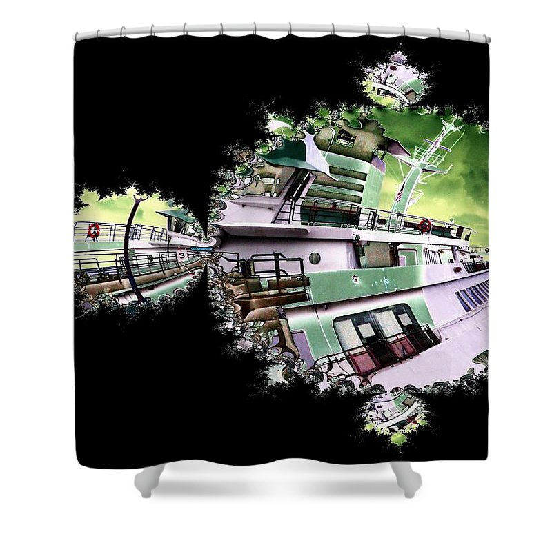 Seattle Shower Curtain featuring the digital art Ferry In Fractal by Tim Allen
