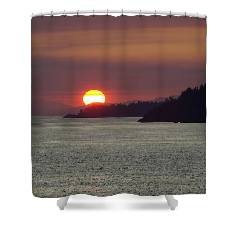Sunset Shower Curtain featuring the photograph Ferry Sunset by Cindy Johnston