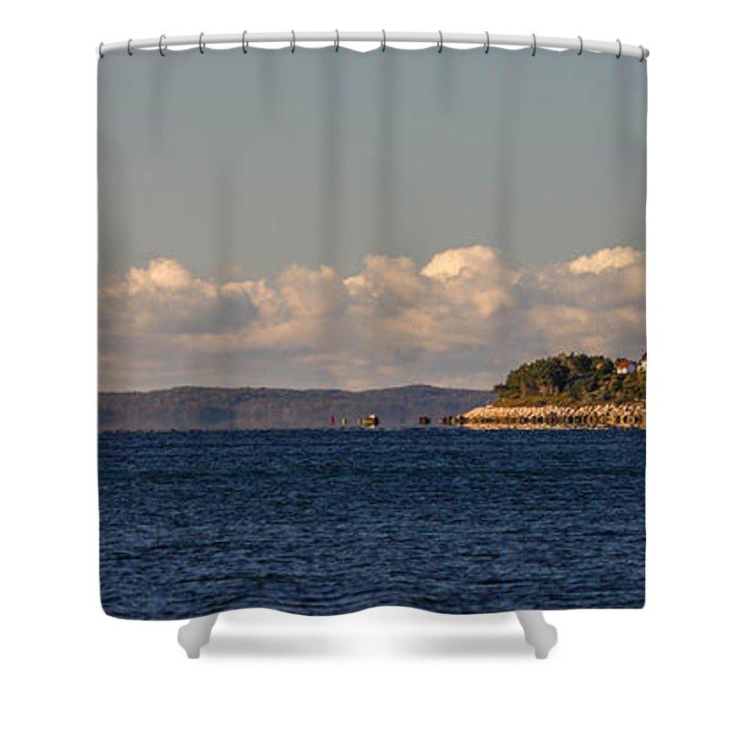 Nobska Shower Curtain featuring the photograph Ferry To Martha's Vineyard Passes Nobska Light by Jim Hayes