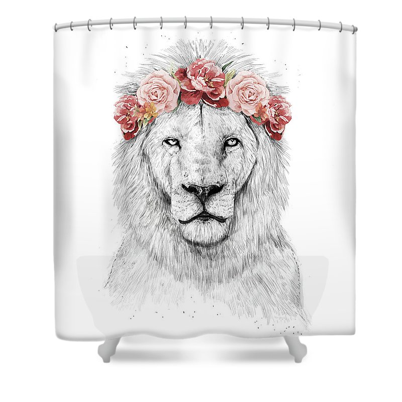 Lion Shower Curtain Featuring The Drawing Festival By Balazs Solti