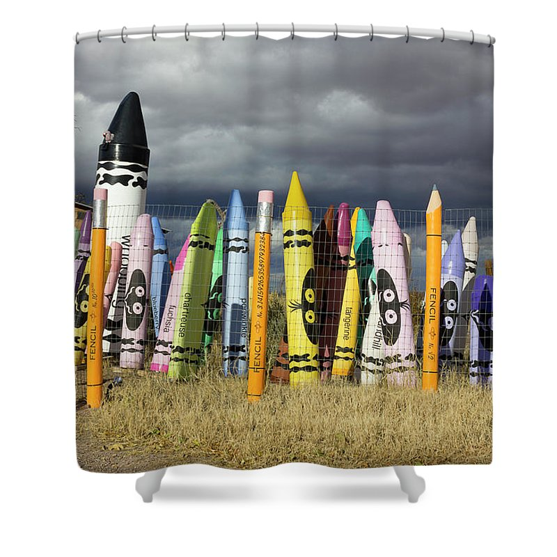 Public Art Shower Curtain Featuring The Digital Festival Of Crayons By Becky Titus