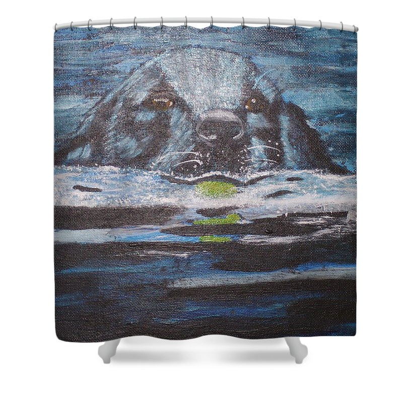 Black Lab Shower Curtain featuring the painting Fetch by Ronni Dewey