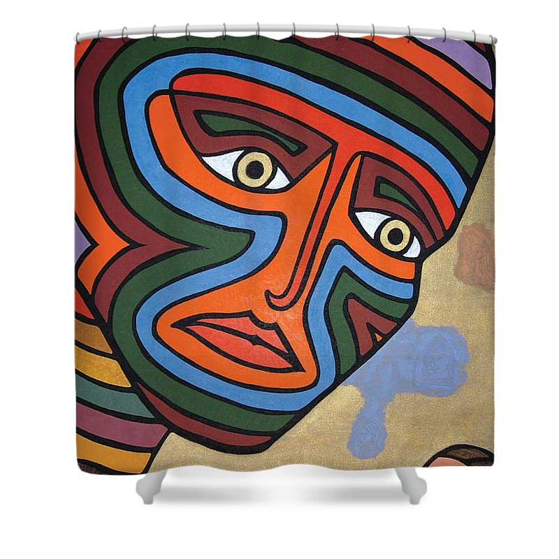 Oil Shower Curtain featuring the painting Fetish by Peter Antos