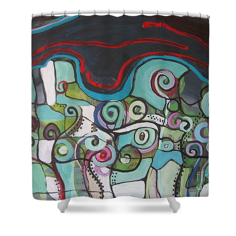 Fiddleheads Paintings Shower Curtain featuring the painting Fiddleheads 5 by Seon-Jeong Kim