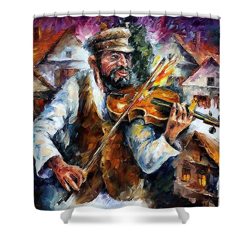 Judiac Shower Curtain featuring the painting Fiddler From The Sky by Leonid Afremov