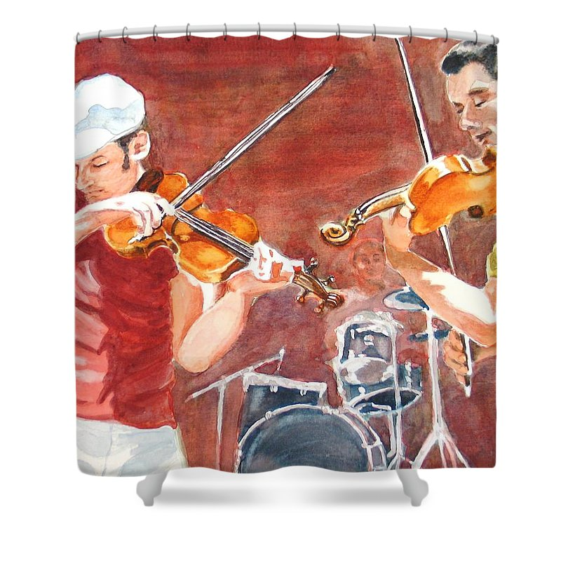 Musicians Shower Curtain featuring the painting Fiddles by Karen Ilari