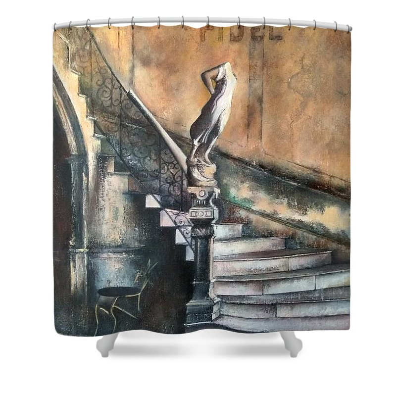 Old Havana Shower Curtain featuring the painting Fidel by Tomas Castano