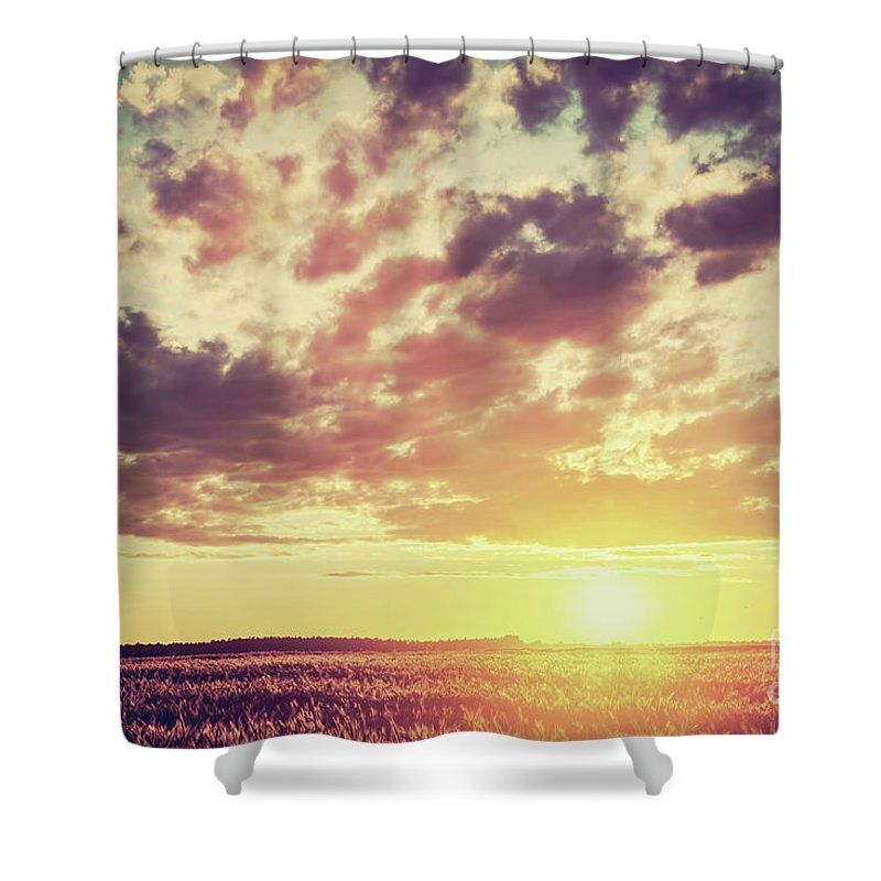 Field Shower Curtain featuring the photograph Field, Countryside At Sunset. Harvest Time. Vintage by Michal Bednarek