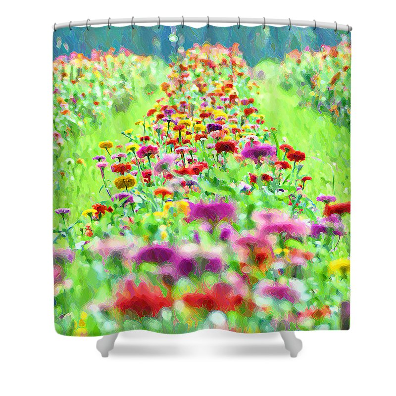 Flower Shower Curtain featuring the photograph Field Of Flowers by Bill Cannon