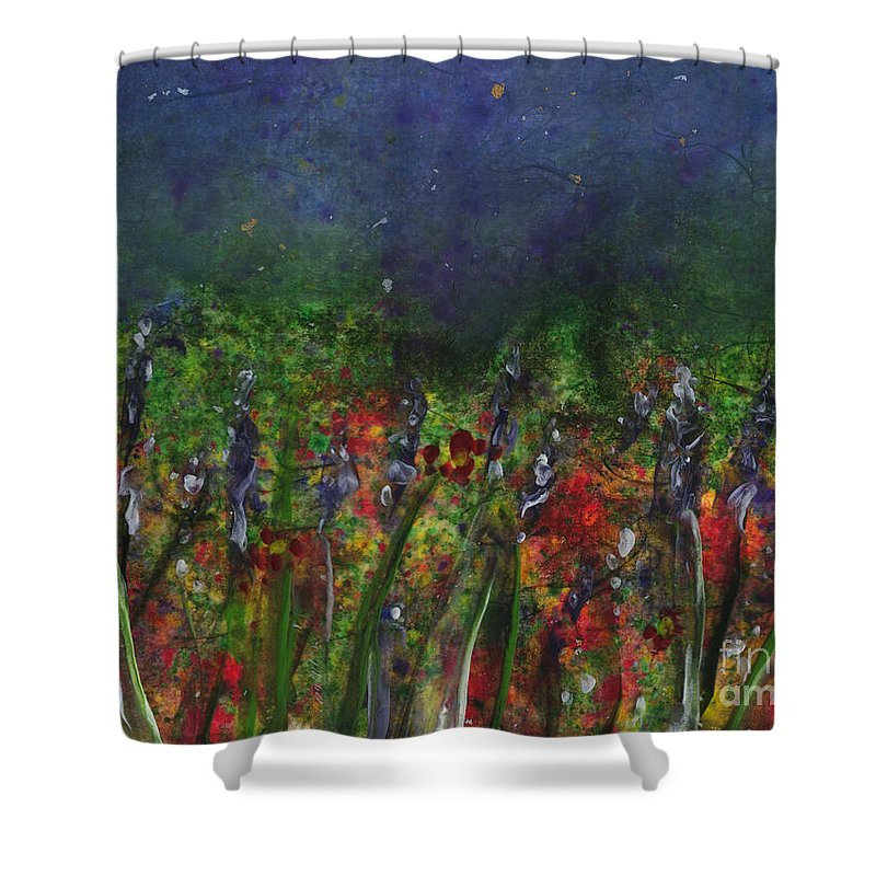 Flowers Shower Curtain featuring the painting Field Of Flowers by Lynn Quinn