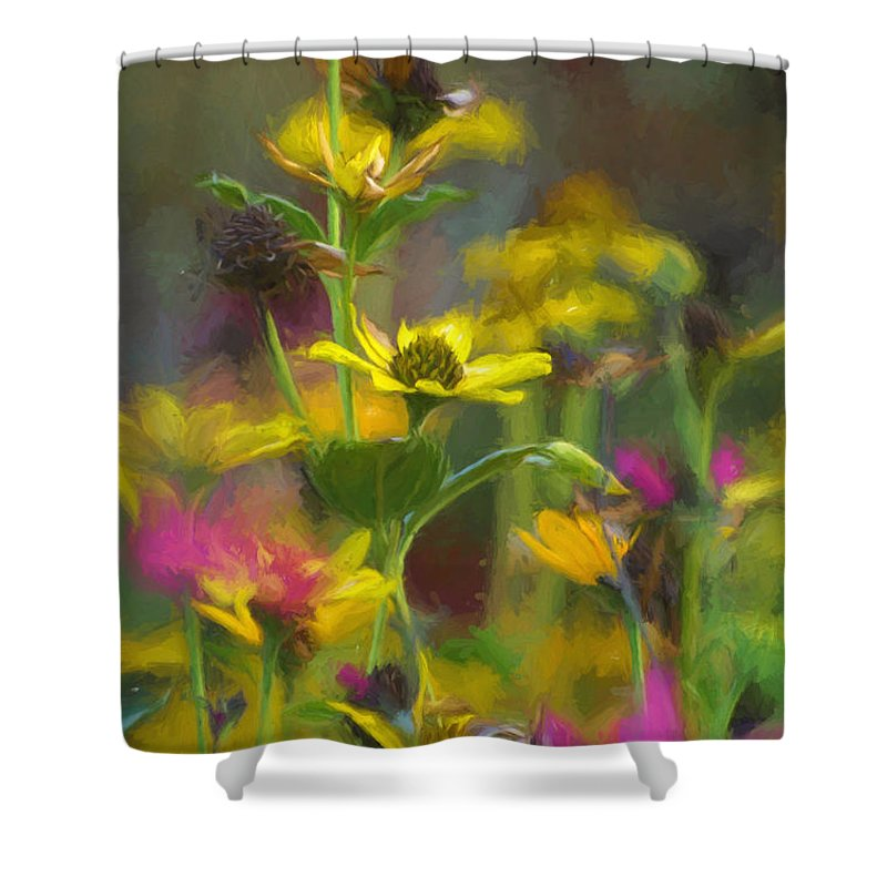 Ann Keisling Shower Curtain featuring the photograph Field Of Flowers Paint by Ann Keisling
