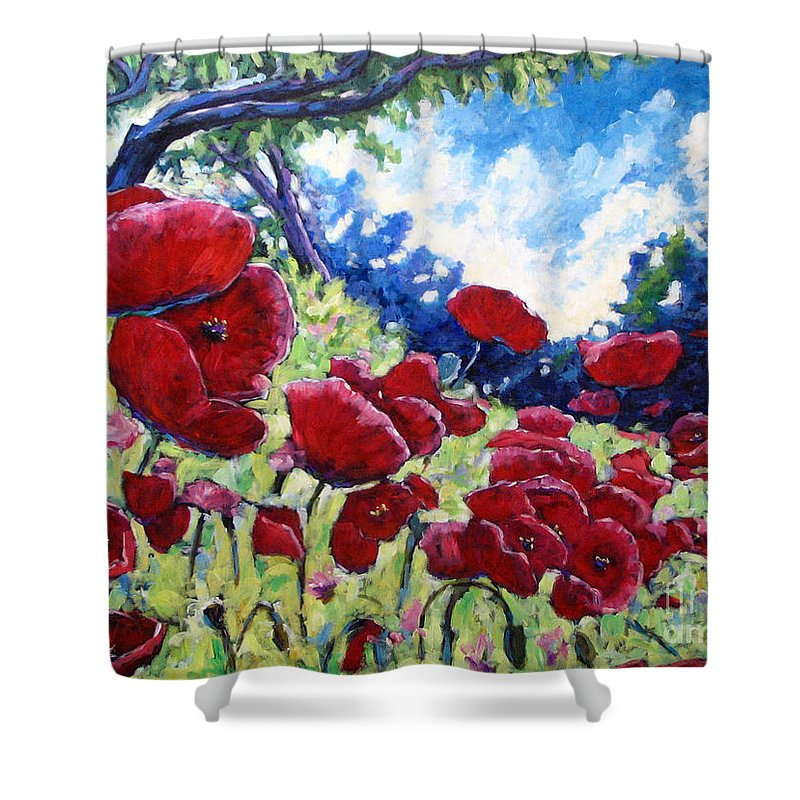 Poppies Shower Curtain featuring the painting Field Of Poppies 02 by Richard T Pranke