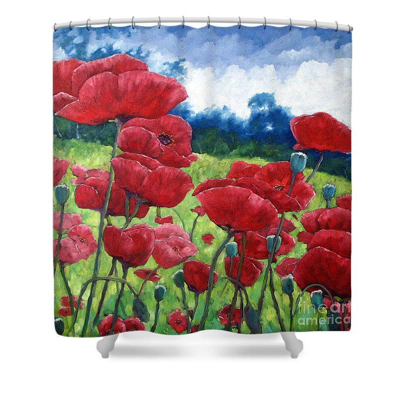 Poppies Shower Curtain featuring the painting Field Of Poppies by Richard T Pranke