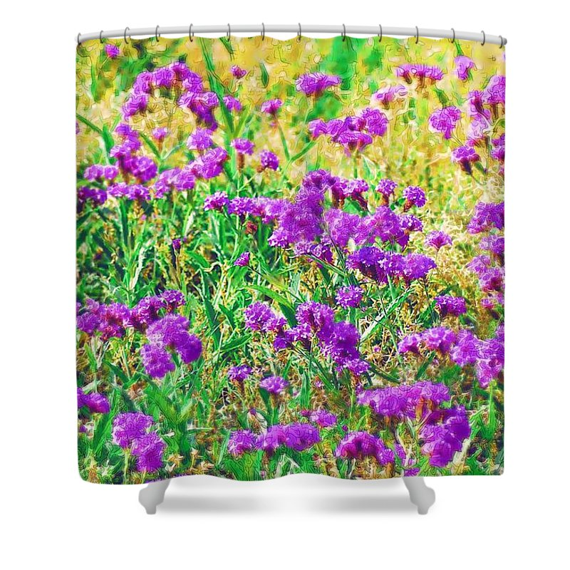 Flowers Shower Curtain featuring the photograph Field Of Purple Flowers by Donna Bentley