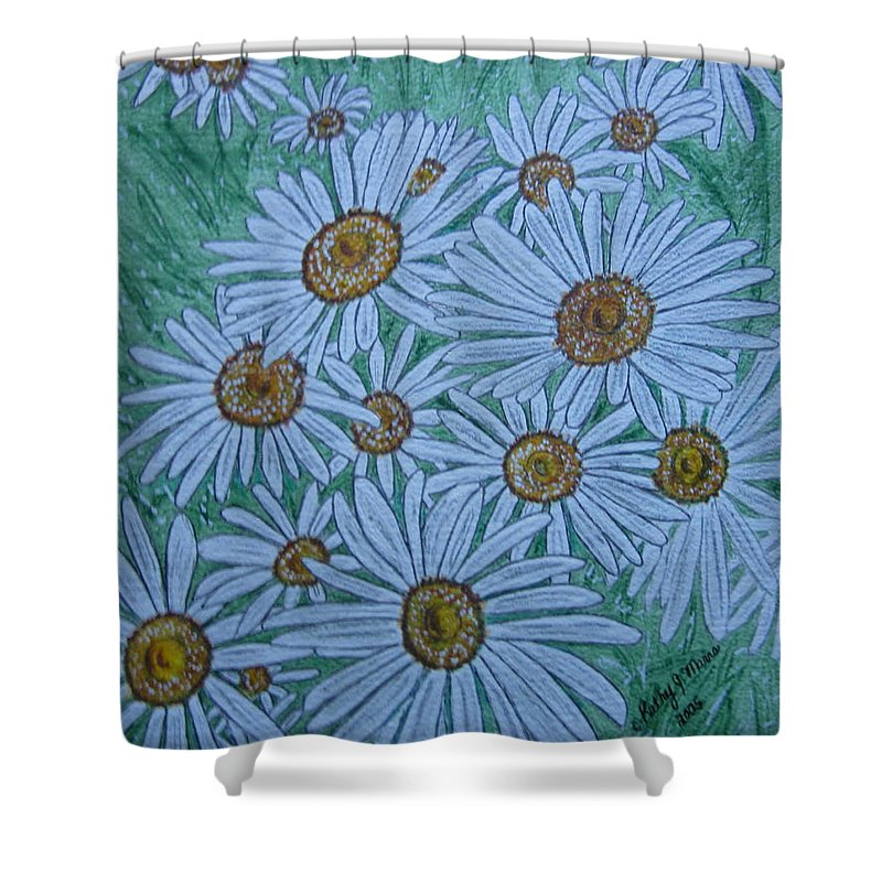 Field Shower Curtain featuring the painting Field Of Wild Daisies by Kathy Marrs Chandler