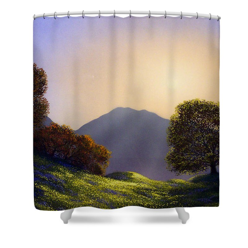 Landscape Shower Curtain featuring the painting Field Of Wildflowers by Frank Wilson