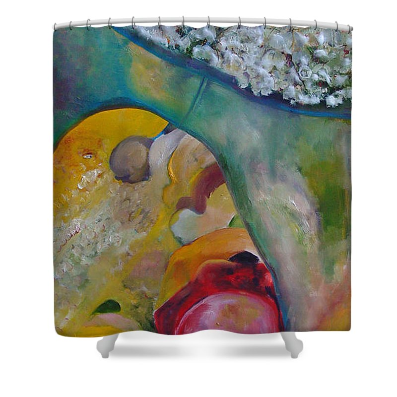 Cotton Shower Curtain featuring the painting Fields of Cotton by Peggy Blood