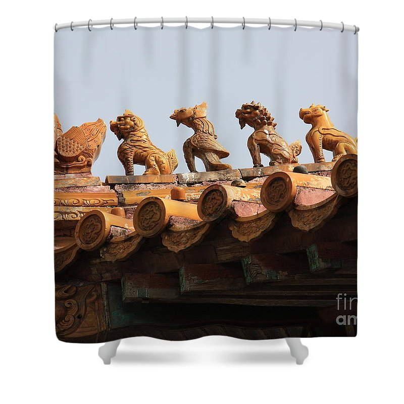 Rooftop Guardians Shower Curtain featuring the photograph Fierce Guardians Of The Forbidden City by Carol Groenen