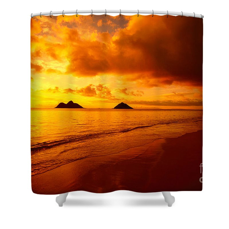 Beach Shower Curtain featuring the photograph Fiery Lanikai Beach by Dana Edmunds - Printscapes