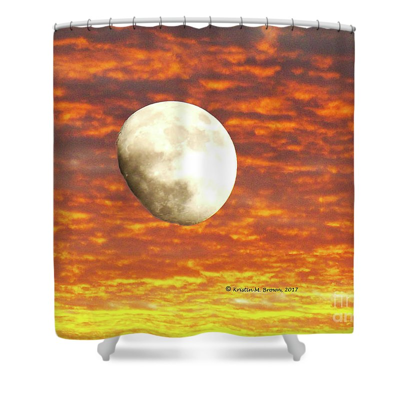 Moon Shower Curtain featuring the photograph Fiery Moon by K Joy Brown