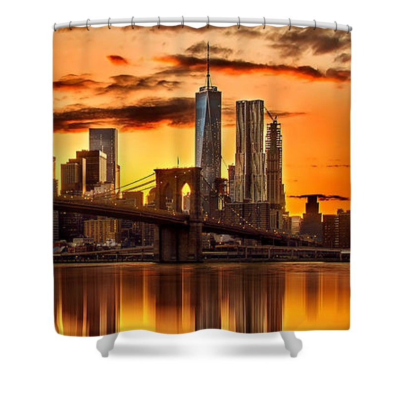 New York City Shower Curtain featuring the photograph Fiery Sunset Over Manhattan by Az Jackson