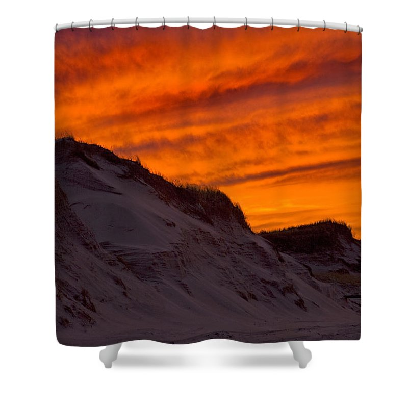 Fire Shower Curtain featuring the photograph Fiery Sunset Over The Dunes by Charles Harden