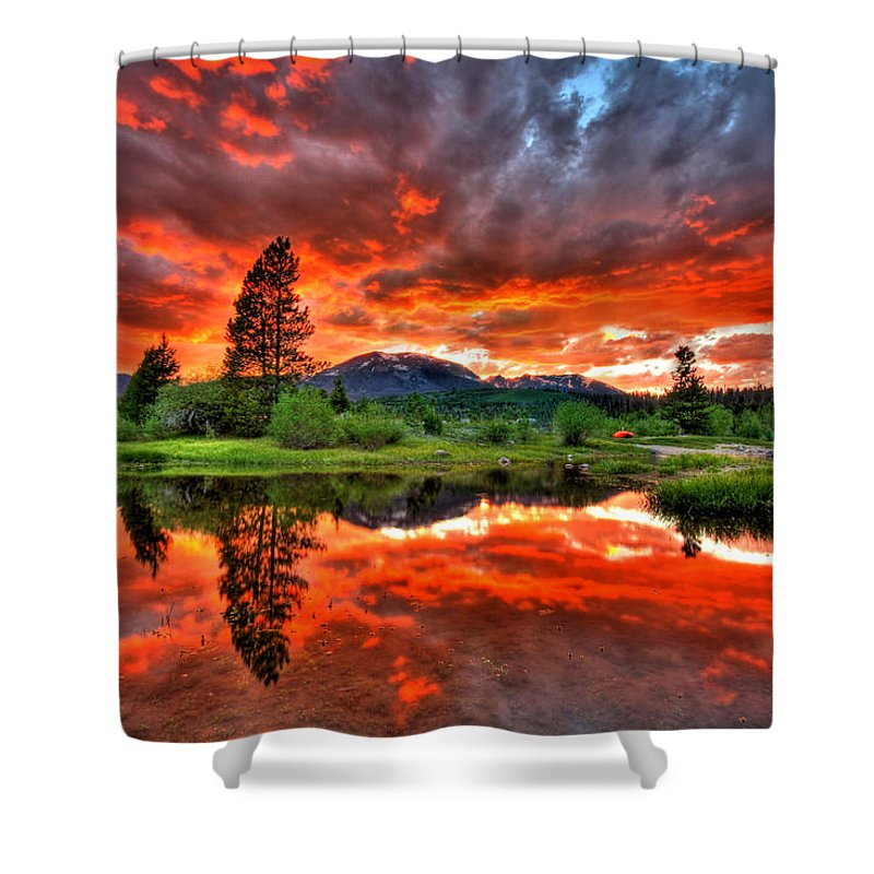 Colorado Shower Curtain featuring the photograph Fiery Sunset by Scott Mahon