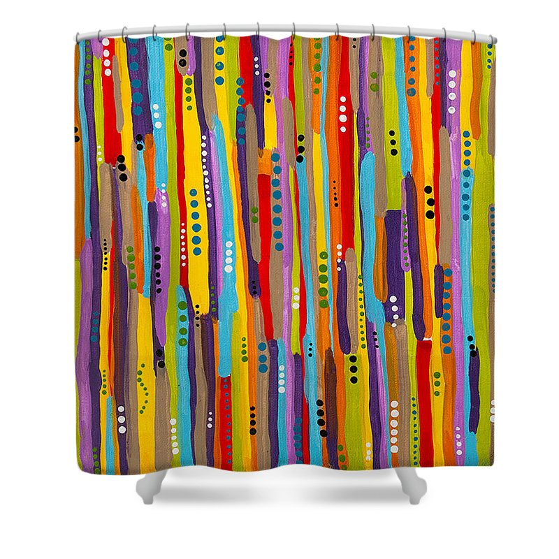 Fiesta Shower Curtain Featuring The Painting Abstract By Katherine Oliver