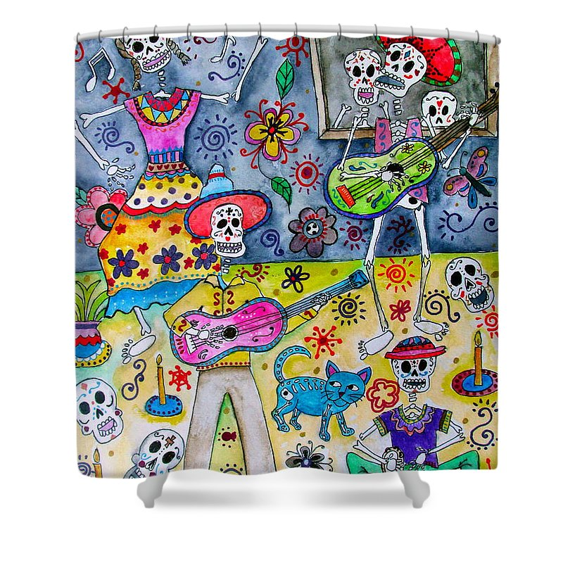 Fiesta Shower Curtain Featuring The Painting Calaveras By Pristine Cartera Turkus