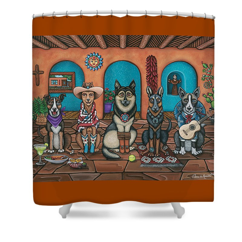 Dogs Shower Curtain featuring the painting Fiesta Dogs by Victoria De Almeida