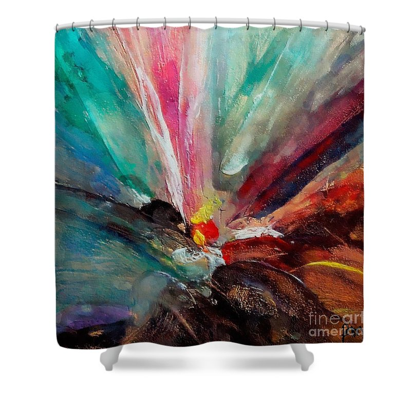 Fiesta Shower Curtain featuring the painting Fiesta by Dragica Micki Fortuna