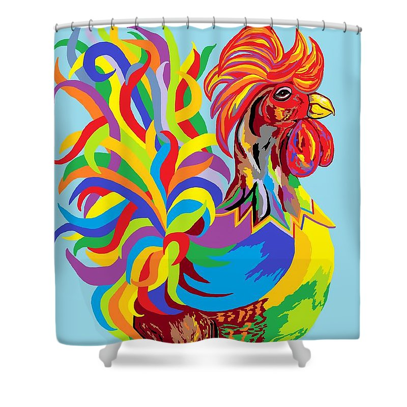 Rooster Shower Curtain featuring the painting Fiesta Rooster by Eloise Schneider Mote